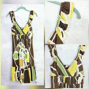 NWT BSBGMaxAzria Floral Brown & Green Knit Dress